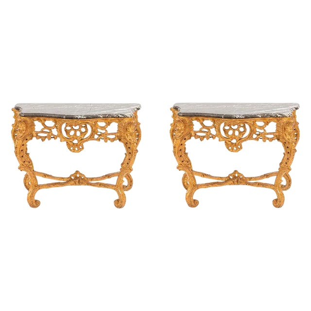 19th Century French Giltwood Consoles With Marble Tops - a Pair For Sale