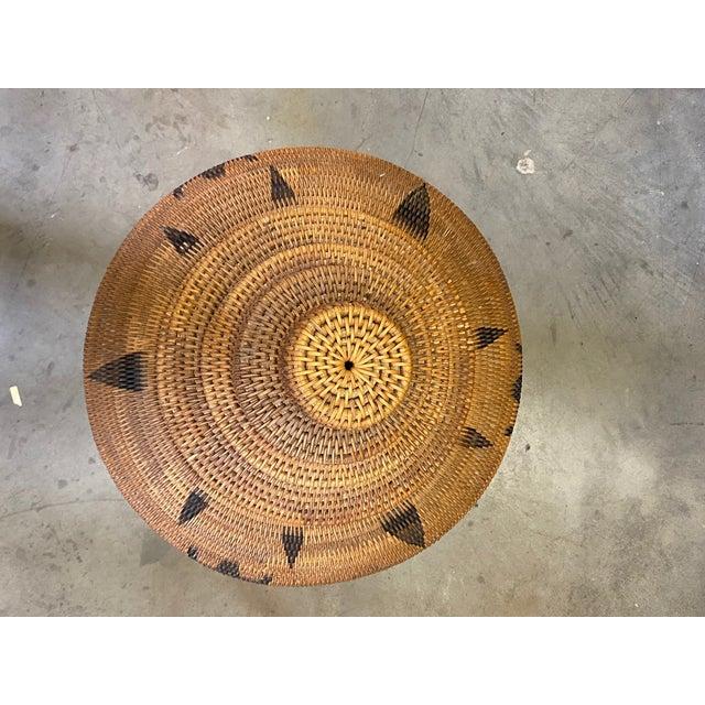 Vintage Urn Shaped Lidded Hand Woven Fiber Basket For Sale - Image 9 of 10