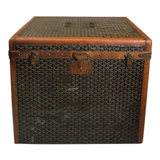 Early 20th Century Goyard Monogram Leather Steamer Trunk For Sale