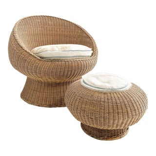 Rattan Chair and Ottoman Set With Custom Brazilian Cowhide Cushions, For Sale