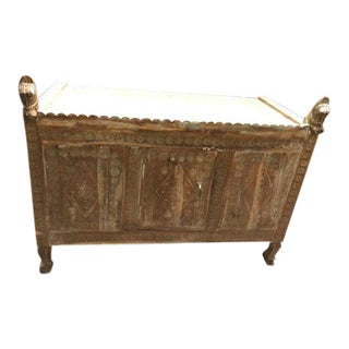 Antique Rustic Carved Low Console Table For Sale