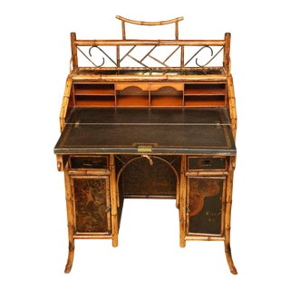 19th Century English Bamboo Ladies Knee-Hole Desk
