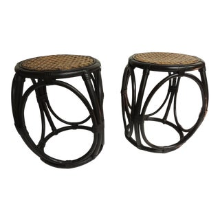 Pair of Vintage Painted Bentwood Thonet Style Stools With Wicker Woven Seats