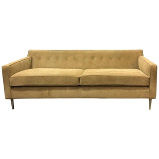 ReGeneration Suede Sofa on Solid Stainless Steel Hand Turned Legs For Sale