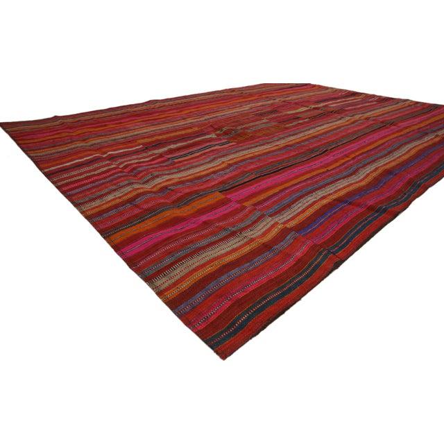 Modern Modern Style Vintage Turkish Jajim Kilim Flat-Weave Rug With Colorful Stripes - 5′5″ × 7′6″ For Sale - Image 3 of 6