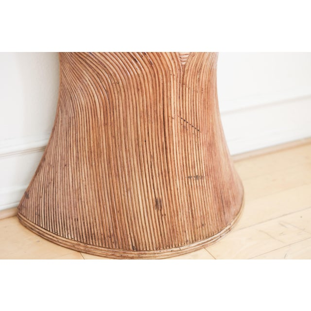 1960s Vintage Pencil Reed Rattan Demilune Console Table For Sale - Image 5 of 9