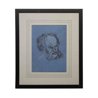 "1800s Italian Baroque ""Older Man"" Portrait Drawing For Sale"
