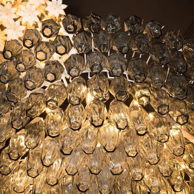 Metal Modernist Handblown Murano Polyhedral Chandelier in Smoked Pewter For Sale - Image 7 of 8