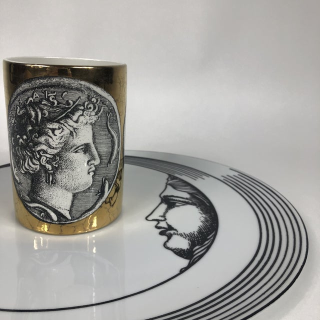 """Gold Porcelain """"Monete"""" Mug by Piero Fornasetti For Sale - Image 8 of 9"""