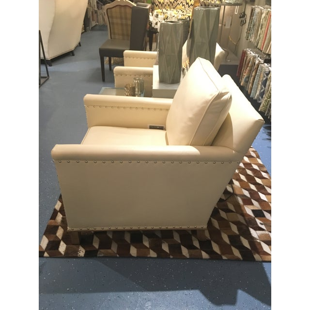 CR Laine Gotham Creme Leather Chair - Image 4 of 8