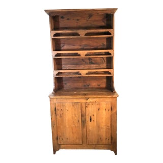 1830s Primitive French Pine Vaisselier Cabinet For Sale