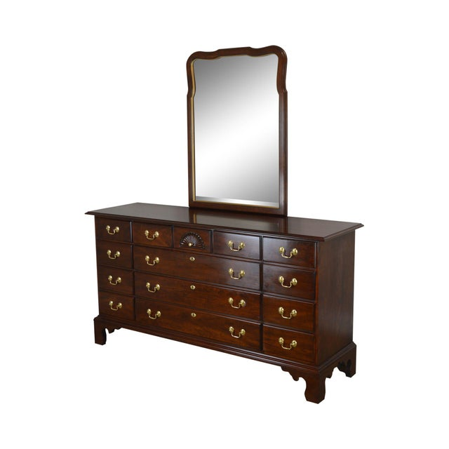 Statton Solid Cherry Long Dresser With Mirror For Sale - Image 13 of 13