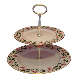Royal Doulton English Porcelain 2 Tier Holly Pattern Serving Tray