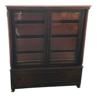 18th Century Vintage Linen Cabinet With Glass Doors For Sale