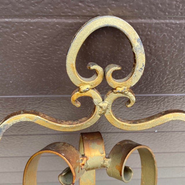 Mid Century Gilt Wrought Iron Three Arm Candle Sconce For Sale - Image 9 of 11