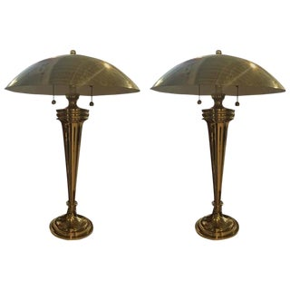 Brass Art Deco Modernist Table Lamps - a Pair For Sale