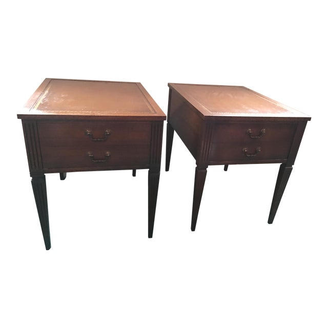 """Leather Top """"Neptune"""" Matching Side Tables - 2 - Image 1 of 5"""