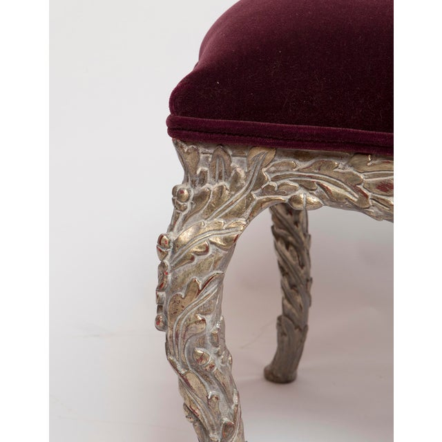 Red 20th Century Traditional Wood Carved Silver Gilt Painted Stools - a Pair For Sale - Image 8 of 13