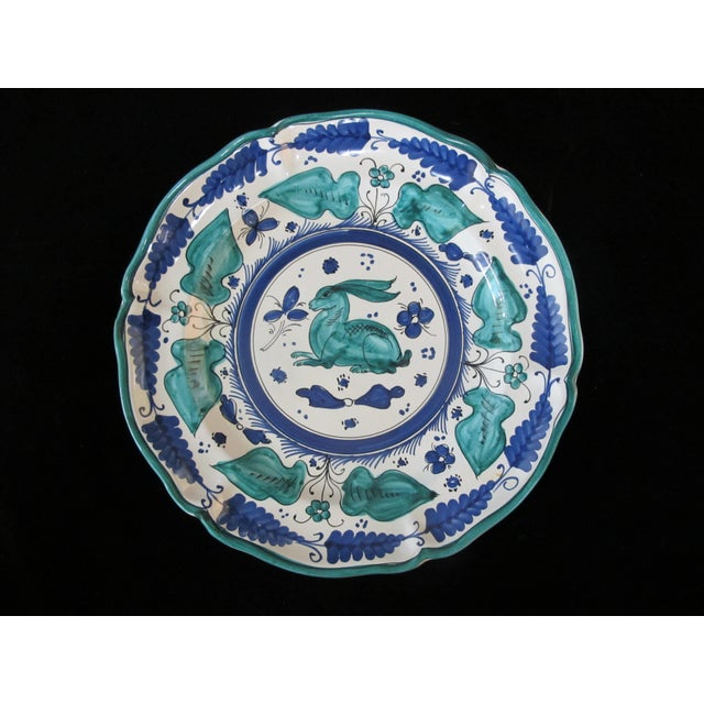Italian Majolica Assisi Blue Green Animal Flower Leaf Theme Plate Set of 4 For Sale - Image 4 of 8