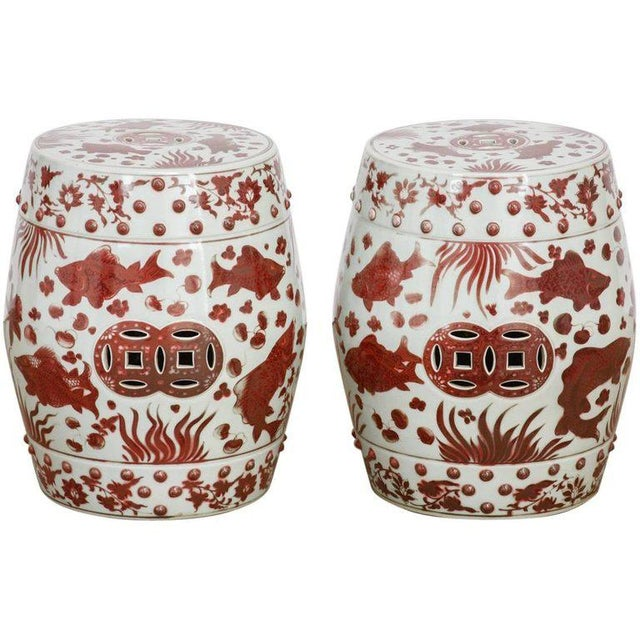 Chinese Ceramic Aquatic Life Garden Stools or Drink Tables - a Pair For Sale - Image 13 of 13