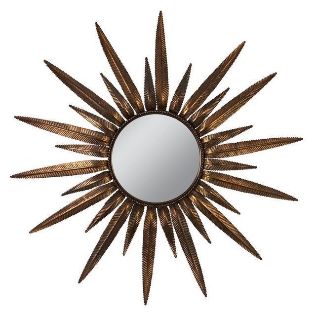 Copper Copper-Plated Sunburst Mirror For Sale - Image 7 of 8