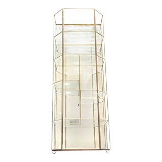 Large Vintage Mid Century Geometric Glass and Brass Display Case With Mirrored Back For Sale