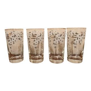 Vintage Mid-Century Floral Glasses Barware — Set of 4 For Sale