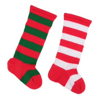 Oversized Knit Christmas Stockings - a Pair For Sale