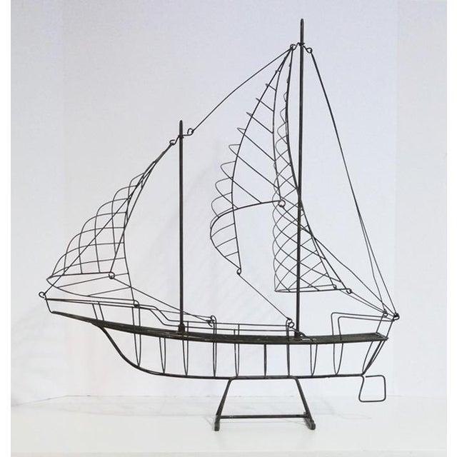 Vintage Wire Ship. It resembles a Curtis Jere sculpture, but unsigned. It is a perfect addition to that beach or lake...