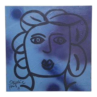 "1983 Piter Keil ""The Blue Lady"" Painting For Sale"