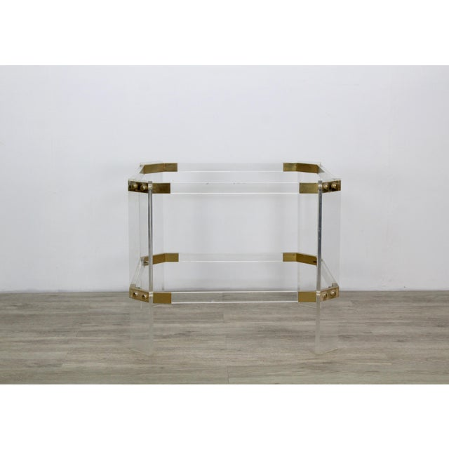 Mid-Century Modern Vintage Brass and Lucite Side Table For Sale - Image 3 of 6