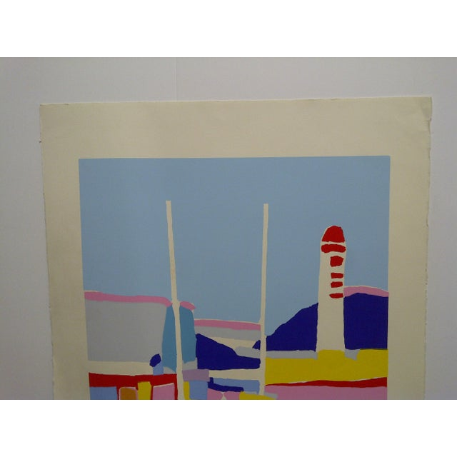 "French Colorful Abstract French Print ""De Phare Rouge"" by Hasch For Sale - Image 3 of 8"