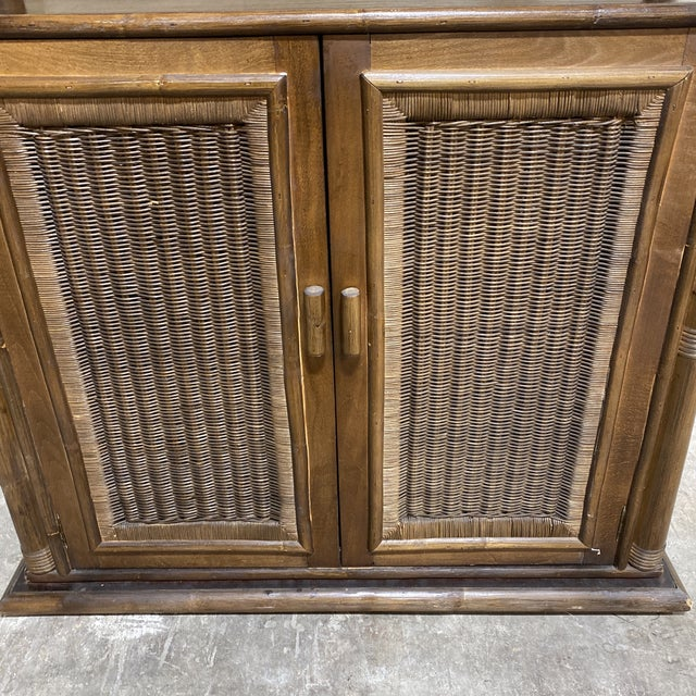 Walnut and Wicker Pagoda Etageres Cabinet For Sale - Image 4 of 13