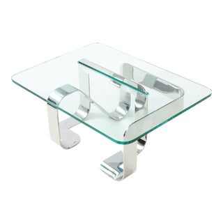 Gary Gutterman Sculptural Cocktail Table in Steel and Glass For Sale