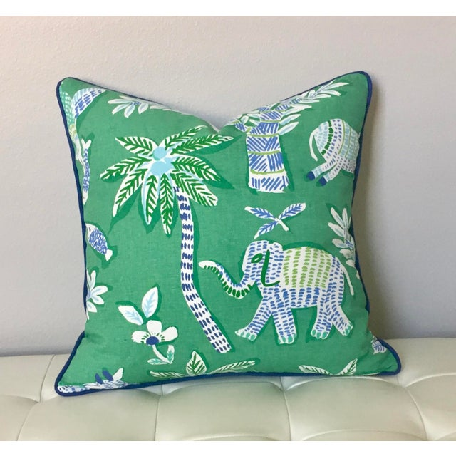Boho Chic Thibaut Goa in Green Designer Pillow Cover With Marine Blue Linen Piping For Sale - Image 3 of 6