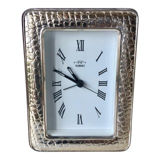Italian Faux Snakeskin Sterling Clock-Lacquered Wood