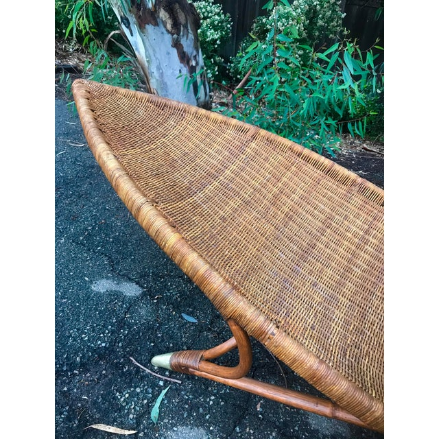 Danish Modern 1930s Lina Zervudachi for Elsa Schiaparelli Rattan Bamboo and Brass Wicker Fish Chaise Lounge Chair For Sale - Image 3 of 13