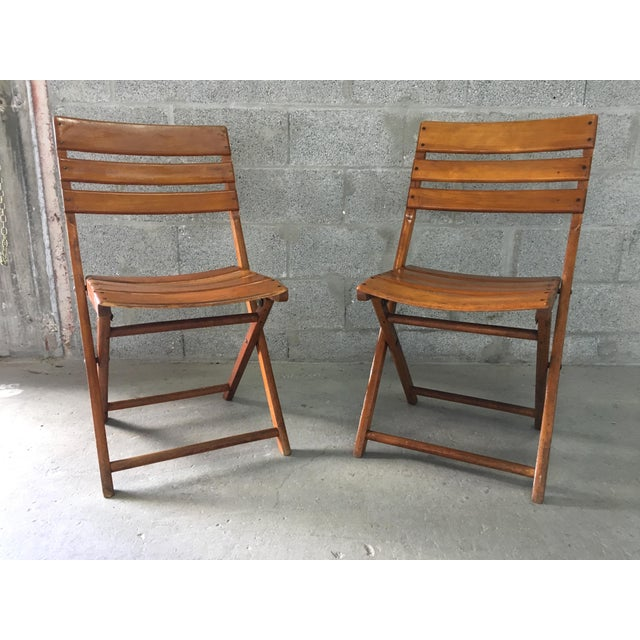 Vintage Rustic Slat Wood Folding Chairs - A Pair - Image 2 of 9