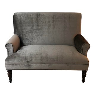 Traditional Charcoal Velvet Settee For Sale