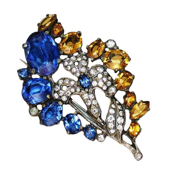 Blue & Topaz Faceted Glass Brooch, C1930, Vintage Brooch, Flower Brooch, Gifts for Her For Sale