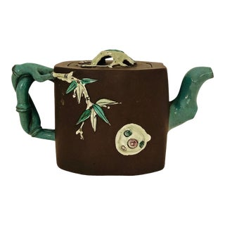 Antique Chinese Yixing Zisha Clay Tea Pot W/Ceramic Appliqué Prunus Tree Flowers & Branches For Sale