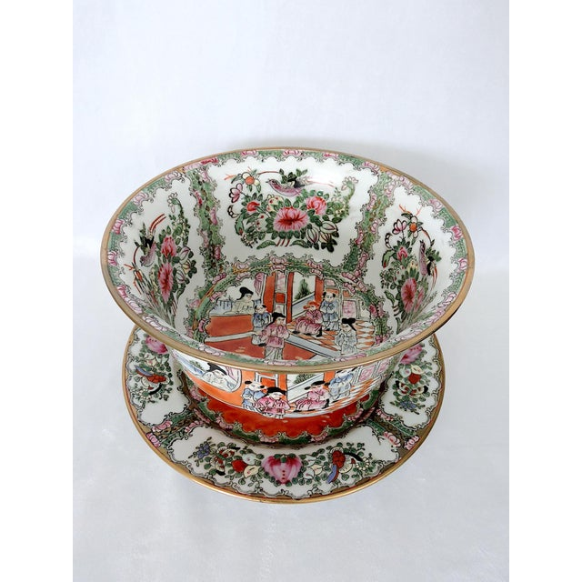 Mid 20th. Century Rose Medallion Planter and 'Plate/Drip Tray' - a matching pair. The white porcelain is hand decorated...