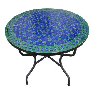 Blue & Green Moroccan Mosaic Table For Sale