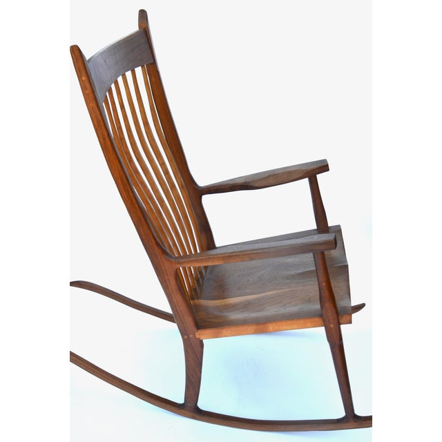 Sam Maloof Hand-Crafted Wooden Rocking Chair For Sale - Image 4 of 9