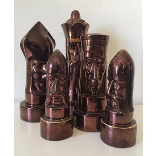 1940s Peter Ganine Metallic Copper-Colored Ceramic Chess Pieces - Set of 5 Preview
