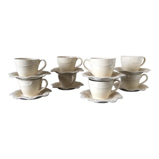 Juliska Thread & Berry Yellow Cups and Saucers - Set of 8 For Sale