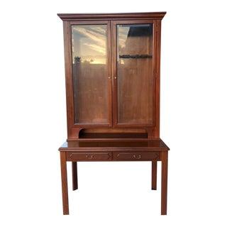 1990s Glass Door Wood Vitrine For Sale