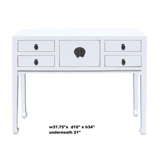 Chinese Oriental Rustic Off White Lacquer Drawers Side Table Preview