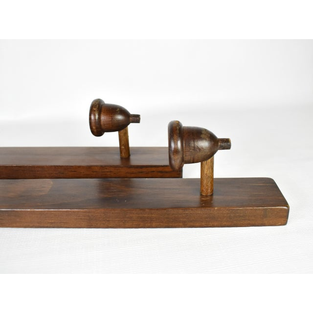 Antique Wood Hand Carved Candle Stick Holder Wall Mounted Sconces - a Pair For Sale - Image 4 of 6