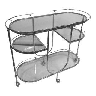 Modernist Nickeled Bronze Triple Tier Bamboo Bar Cart For Sale
